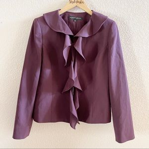 Albert Nipon Wool Blend Purple Ruffle Blazer
